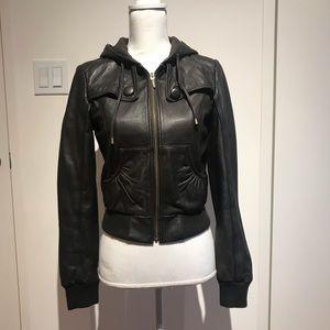 Topshop dark brown leather jacket with hoodie.